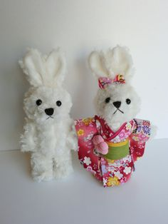 white bunny rabbit collectors doll miniature by japanmomijidesigns