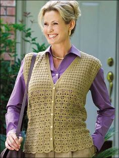 Free Leaf Lace Vest is stitched in jute colored fingering weight yarn & closes with 5 buttons. Use size 2/2.25mm steel crochet hook. Size: small (medium, large). Skill Level: Intermediate