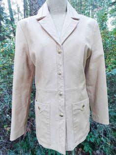 St John Jacket Size Medium Leather Camel Blazer Marie Gray  #StJohn #BasicCoat