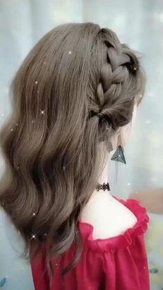 Hairdo For Long Hair, Bun Hairstyles For Long Hair, Braided Hairstyles, Easy Formal Hairstyles, Front Hair Styles, Medium Hair Styles, Hair Style Vedio, Hair Tutorials For Medium Hair, Hair Upstyles