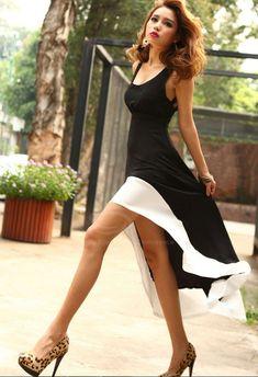 Slim Fit Plunging Neck Sexy High-Low Hem Black Sundress For Women