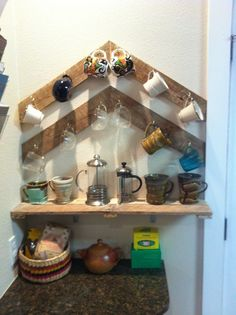 Chevron Pallet Cup Rack and Coffee shelf
