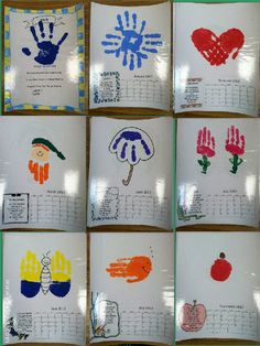 A handprint calendar - so cute!  For kids to give to parents for Christmas.