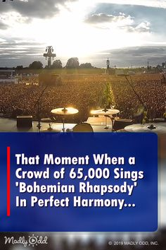 """""""That Moment When a Crowd of Sings 'Bohemian Rhapsody' In Perfect Harmony. """" — Freddie Mercury must be smiling down from Heaven. If you can rock people in a concert 27 years later and without being there, you are not just a singer, you are a legend. Music Sing, Music Lyrics, Live Music, Good Music, Amazing Music, Awesome Songs, Concert Crowd, Guitar Solo, That Moment When"""