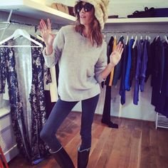 Alexa Chung at LMPR Towers getting ready for Glastonbury!!