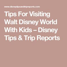 Tips For Visiting Walt Disney World With Kids – Disney Tips & Trip Reports