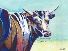 Black Texas longhorn, contemporary, animal, art, western, southwest, painting, watercolor, farm, cattle, etsy, annette bennett, modern by AnnetteBennett on Etsy