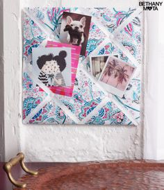 Floral Memo Board - I might post hundreds of pics online, but I also like to display some special photos in my Floral Memo Board! The flowery fabric looks so chic and adds a little extra flair to any room. You inspire me,
