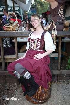 Texas Renaissance Festival 2013. I love the tights and stripey socks with the boots! Super cute.