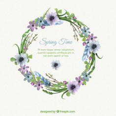 Watercolor delicate flower wreath Free Vector