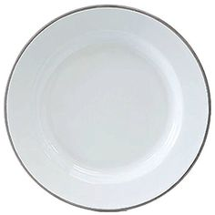 Enamelware Dinner Plate - Solid White with Grey Rim Inch Diameter^Raised Plate stands high - Inch gentle sloping rim^Beautiful Solid White with Grey Rim ...  sc 1 st  Pinterest & Crow Canyon Enamelware - Dinner Plate -Solid White with Black Rim ...