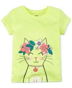 Carter's Cat Graphic-Print T-Shirt, Toddler Girls - Yellow 2T