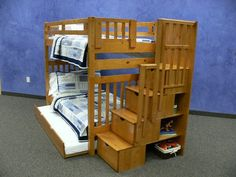 Bunk Bed Tall Twin over Twin Mission Style in Honey with Stairway and Trundle DONCO http://www.amazon.com/dp/B003GDOBVM/ref=cm_sw_r_pi_dp_UsW3vb1CGSAMA
