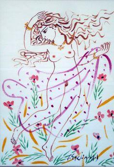 .:. Σταθόπουλος Γεώργιος – Georgios Stathopoulos [1944] Greek Drawing, Contemporary Decorative Art, Greece Painting, Study Planner, Greek Art, Naive Art, Artist Painting, Flower Art, Folk Art