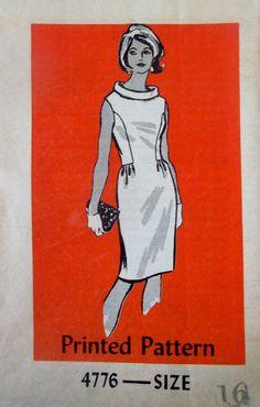 Anne Adams 4776 Women's 60s Cowl Dress Sewing Pattern Bust 36