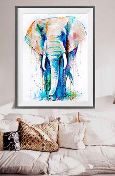 Elefante africano acuarela grabado animal acuarela por SlaviART