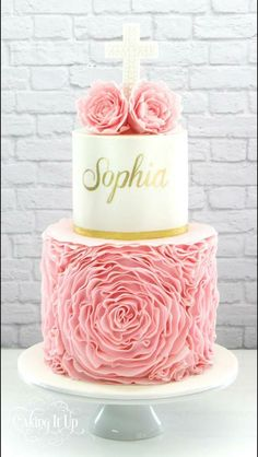 Pink ruffle christening cake by caking it up Gorgeous Cakes, Pretty Cakes, Christening Cake Girls, Baptism Cakes, Comunion Cakes, Religious Cakes, Confirmation Cakes, First Communion Cakes, Caking It Up