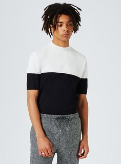 Black and White Turtle Neck Knitted T-Shirt Polo Shirt, T Shirt, Asos, Polo Ralph Lauren, Turtle Neck, Black And White, Mens Tops, Shopping, Collection