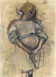 "Joan Eardley, ""Little Glasgow Girl,"" pastel, 18 x 13 in, Private Collection Glasgow Girls, Glasgow School Of Art, Pastel Portraits, Creative Portraits, Pastel Drawing, Pastel Art, Life Drawing, Figure Drawing, Gouache"