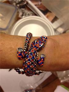 Uf Glitzy Gator Hinged Bangle Bracelet Orange Blue Just Georgous