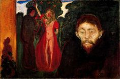 Jealousy, 1895 by Edvard Munch, European period. Expressionism. history painting. Rasmus Meyer Collection, Bergen, Norway