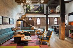 converted caviar warehouse in new york features sunken interior court