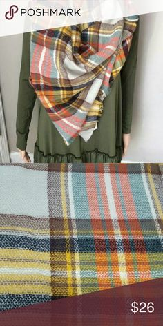 Olive and gold plaid blanket scarve Olive and gold plaid blanket scarve Accessories Scarves & Wraps