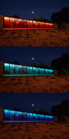 Murdoch Art Wall.  The iGuzzini Linealuce Compact RGB allowed minimum energy consumption and maximum longevity, assuring Main Roads a worry-free maintenance. The project has become a recognisable landmark feature for all road users along South Street and Murdoch Drive adding a sense of proudness to the immediate residence in the area.  Artist: Rick Vermey Lighting Specialist: Martin Klaasen (KLD) Electrical Contractor: Highway Construction Photographer: Ron Tan Sound Wall, Pedestrian Bridge, Energy Consumption, Bridges, Light Colors, Sustainability, Remote, Construction, Lights