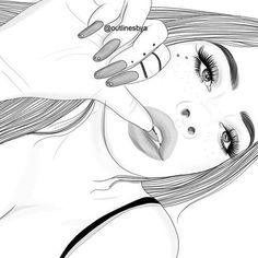 grafika girl and outline Tumblr Girl Drawing, Tumblr Drawings, Girl Drawing Sketches, Cute Girl Drawing, Tumblr Sketches, Drawing Ideas, Tumblr Outline, Outline Art, Outline Drawings