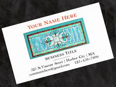 Business Cards/Calling Cards - Personalized, Vintage Stained Glass Window - Set of 40 by OlivineStationery on Etsy