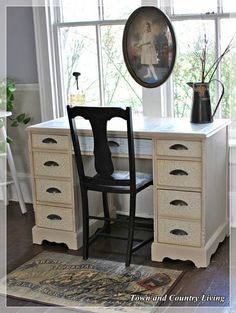 DIY::Decoupage Desk Project  (maybe I will use this idea for our little craft table that is a disaster)