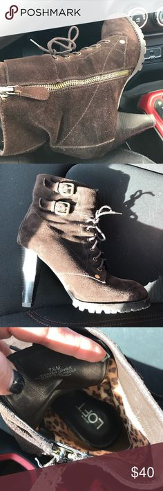 The loft brown booties ❤️ These little combat booties are too cute! They are a 7.5, and so comfy! Only been worn a hand full of times :) Ann Taylor Shoes Combat & Moto Boots