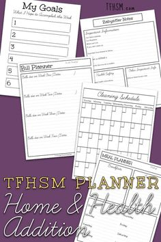 New - The latest Addition to my free homeschool planner! It's the Home Management and Health Tracking Planner for Homeschool Moms. #homeschoolplanner #homemanagementplanner #freehomeschool #homeschool for free Bill Planner, Planner Pages, Happy Planner, Babysitter Notes, Goals Sheet, Home Management, Mom Blogs, Frugal, Are You Happy