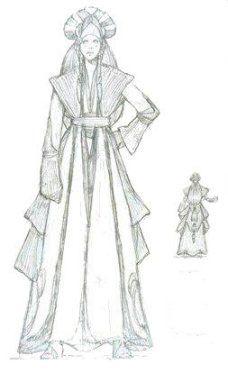 Padme' Amidala Star Wars: Episode I - The Phantom Menace. The Battle Gown. Sabe wears this dress. http://www.padawansguide.com/amidala/decoy/sabe_concept.jpg