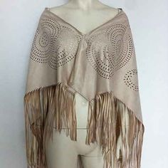 Colorful Apparel Women Faux Suede Leather Cut Out Summer Beach Cover Up Kimono Long Fringes Tassel shawl