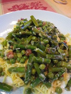 Homemade Noodles with Peas, Asparagus and Pancetta