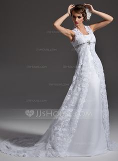 A-Line/Princess Square Neckline Chapel Train Satin Lace Wedding Dress With Beading (002001257)