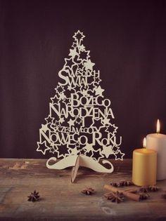 Drewniana ażurowa choinka ozdoby świąteczne 40 cm