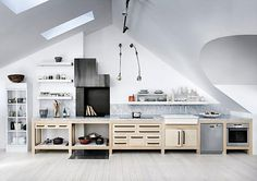 Kitchen – light, simple, clean, funky lights