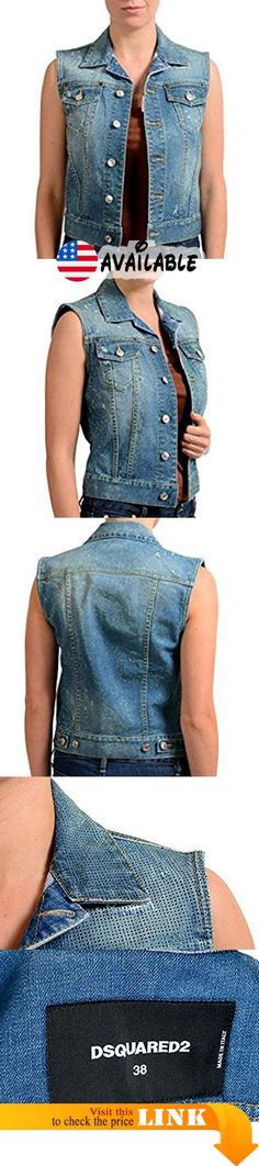 "B077CCSVWQ : Dsquared2 Blue Beads Embellished Denim Button Down Women's Vest US XS IT 38. New with tags. Country/Region of Manufacture: Italy. Material: 98% Cotton 2% Spandex. Bust: 16"" Length: 19.25"""