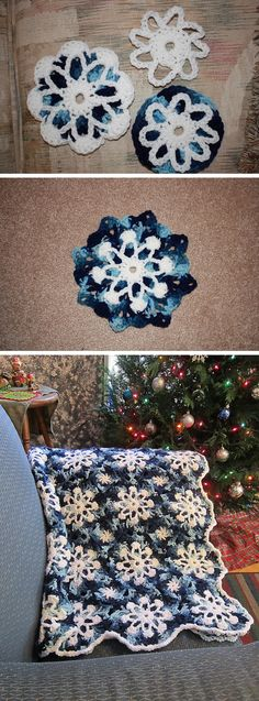 Dusty Snowflakes throw, free pattern from Red Heart (pattern no. LW2020).  *Check Ravelry Project tab for notes & ideas.  . . .  ღTrish W ~ http://www.pinterest.com/trishw/  . . .   #crochet #afghan #blanket