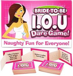 Gather goodies for the bachelorette at her pre-wedding party with the Bride to Be I.O.U. Dare Game! Hilarious and fun, this game dares your bridal party to go find items in return for drinks!