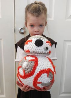 When I found a free pattern for a droid inspired by a new, and popular movie, I knew I had to make it for my 6-year-old who is in love with the characters!    I substituted thicker yarn, and bigger crochet hooks to achieve the larger size.