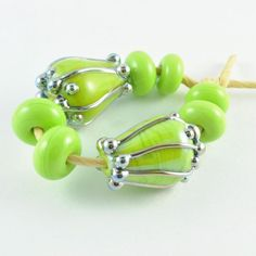 Pod Lampwork Beads in Pea Green by mandrel2 on Etsy
