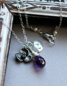 Monogram Bridesmaid Necklace - Shown with Amethyst $42.00
