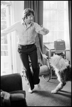 Beatle Paul McCartney and his sheepdog Martha, circa 1969