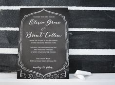 chalkboard wedding stationery  |  black and white  |  invitation designed + styled by k. austin