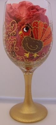 Fabulous Turkey Hand Painted Wine Glass by Cassie