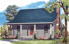 1 Story House Plans between 500 and 1000 sq ft with a 2 Car Garage and 1 Bathroom and 1 Bedroom Page 1 at Westhome Planners Small Cottage Plans, Small House Floor Plans, Cottage House Plans, Cottage Homes, Cottage Living, House 2, Backyard Cottage, Story House, Small Cottages