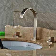 61.95$  Buy here - http://alicaw.worldwells.pw/go.php?t=32597785259 - Widespread Brushed Nickel Bathroom Basin Faucet Dual Handles Vanity Sink Mixer 61.95$